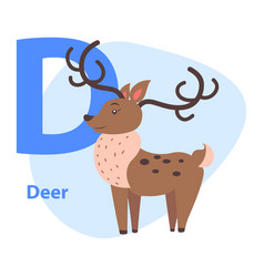 Funny alphabet with cartoon animal blue letter d vector