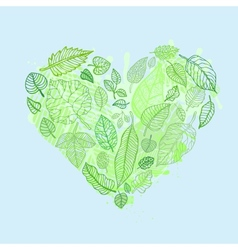 Heart of the leaves seasons background vector