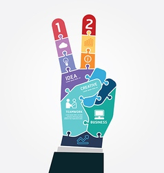 Infographic template victory finger business vector