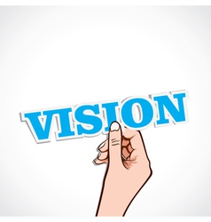 Vision word on hand vector