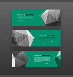 3d lowpoly solid abstract web banner template vector