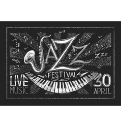 Poster of jazz festival on the chalkboard vector