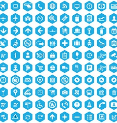 100 airport icons vector image
