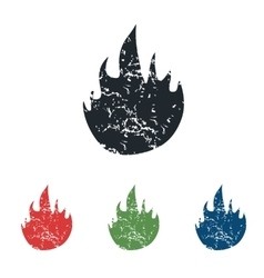 Fire grunge icon set vector