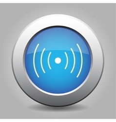 blue metal button with sound or vibration vector image