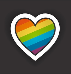 Heart with rainbow vector