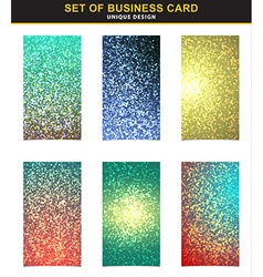 Set 6 business cards with the abstract shining vector image
