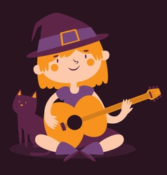 Witch girl playing guitar next to her cat vector