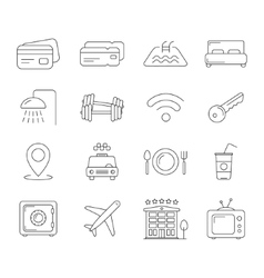 Travel and hotel line icons vector