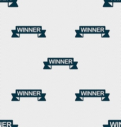 Winner icon sign seamless pattern with geometric vector