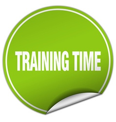 Training time round green sticker isolated on vector
