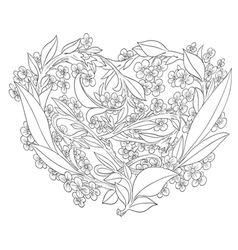 Beautiful openwork heart of flowers vector