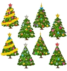 Big set green christmas trees on white background vector