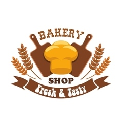 Bakery shop emblem fresh and tasty bread loaf vector