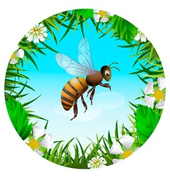 Bee flying in the sky vector image vector image