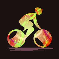 bicycle sport card with an abstract character vector image