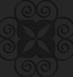 Black textured plastic big swirly hearts vector