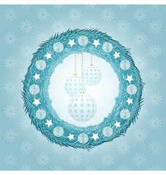 Blue Christmas wreath with baubles vector image vector image