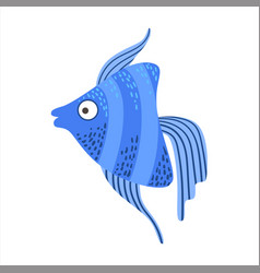 Blue stripy angelfish fantastic colorful aquarium vector