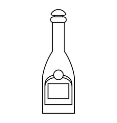 Bottle champagne plastic cork outline vector