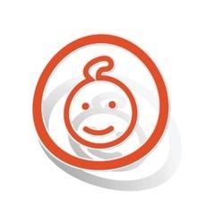 Child sign sticker orange vector