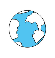 Color sectors silhouette of earth globe icon vector