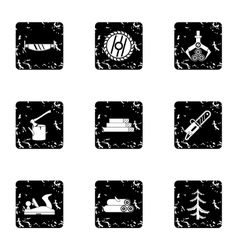 Firewood icons set grunge style vector