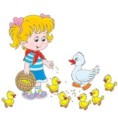Girl feeding ducklings vector