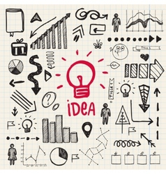 hand drawn doodle business idea set vector image vector image