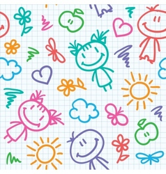 Hand drawn kid pattern vector