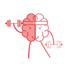 Icon adorable kawaii brain doing exercise vector