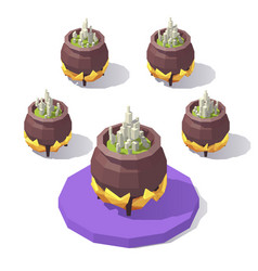 isometric low poly cauldron vector image