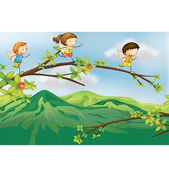 Kids playing at the branch of a tree vector image vector image
