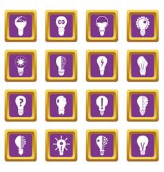 lamp logo icons set purple vector image