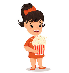 Little girl with popcorn cute cartoon character vector