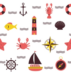 Marine seamless pattern sea theme nautical vector