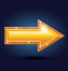 Night club billboard retro arrow light frames vector