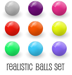 realistic glossy spheres or button set vector image