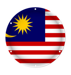 Round metallic flag of malaysia with screw holes vector