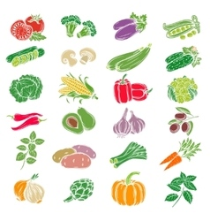 Set decorative icons vegetables vector image vector image