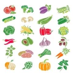 Set decorative icons vegetables vector image