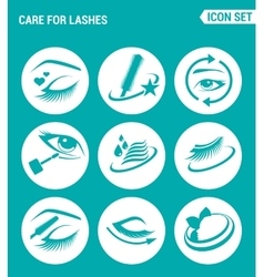 Set of round icons white care for lashes vector