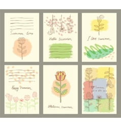 Set of six cute universal cards with hand vector