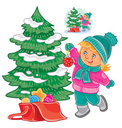 small girl decorating the christmas tree vector image vector image