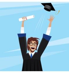 Student enjoys graduation vector