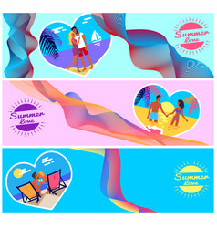 summer love photos of couples in heart shape frame vector image