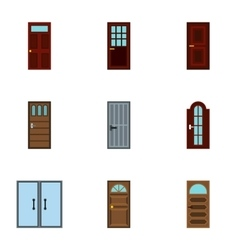 Types of doors icons set flat style vector image vector image