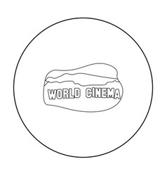 World cinema sign icon in outline style isolated vector