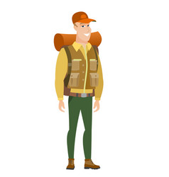 Young caucasian confident traveler vector