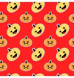 Red slanted halloween pumpkin seamless pattern vector